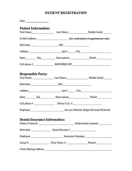 dental patient registration form